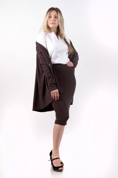 """Комплект """"кардиган+блуза+юбка"""", коричневый"""