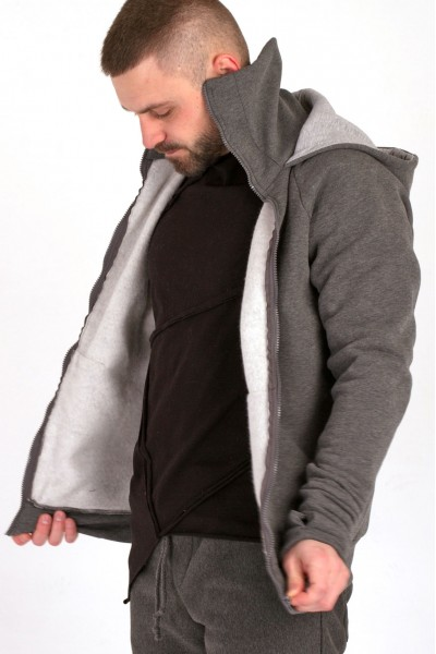 Sweatshirt with zipper, gray
