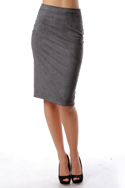 Pencil skirt with zipper dark gray