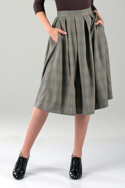 Skirt sun gray check