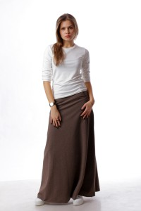 knitted skirt maxi brown