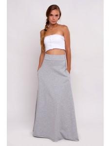 Трикотажная cветло-серая юбка-макси