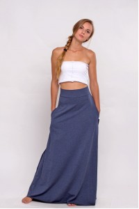 knitted skirt maxi blue