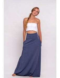 Трикотажная  синяя юбка-макси