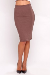 Pencil skirt light brown melange