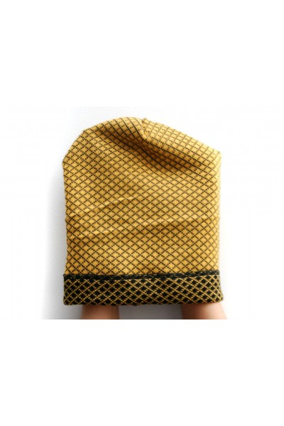 Winter yellow-black beanie hat