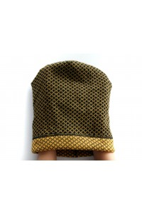 Winter black-yellow beanie hat
