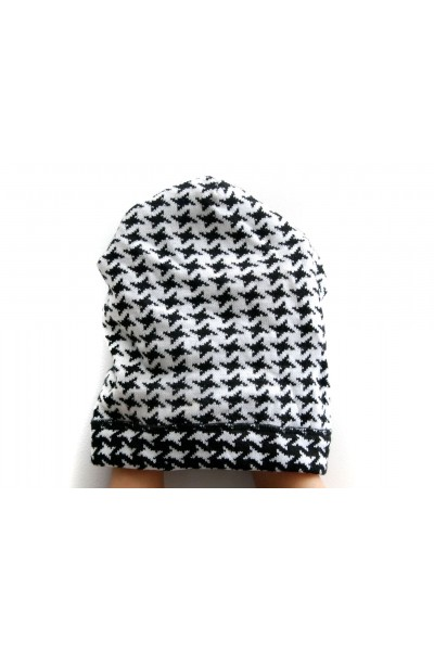 Winter white-black beanie hat