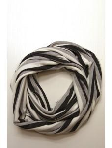 Шарф-снуд черно-серо-белый в полоску, зимний
