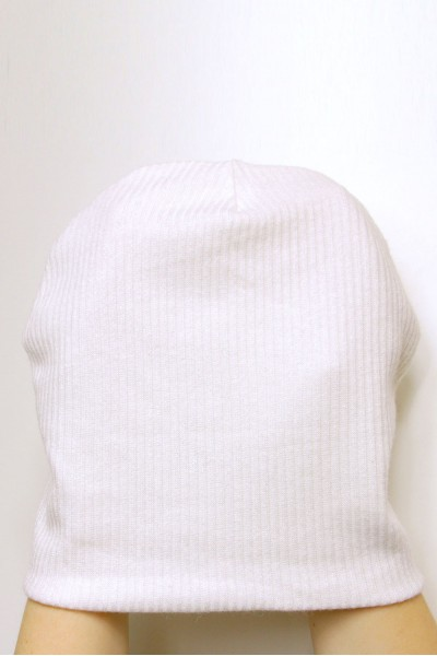 Winter white beanie hat