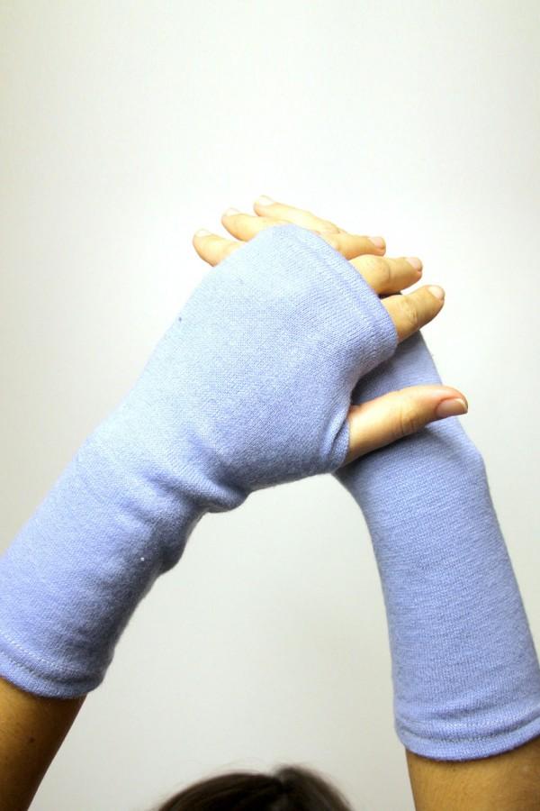 Митенки голубые