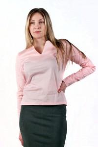 Блуза V-вырез, розовая