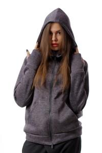 Sweatshirt with zipper, gray