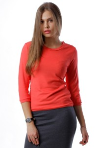 jumper with buttons, coral pink