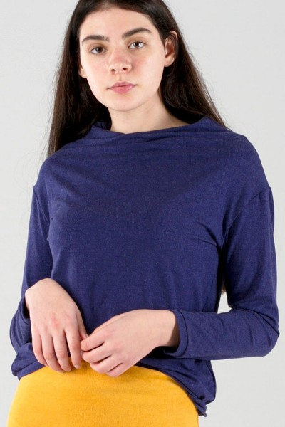 mini neck sweater, blue melange