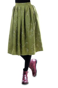 Green woolen skirt